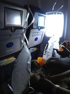 oxygen masks after the plane depressurized