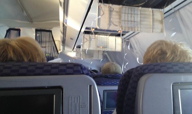 oxygen masks after the plane depressurized on a united flight