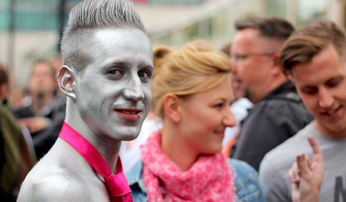 a man painted in silver at a LGBT pride event in Berlin