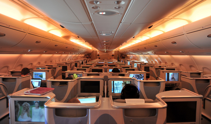 business class airline section that you can earn through travel hacking