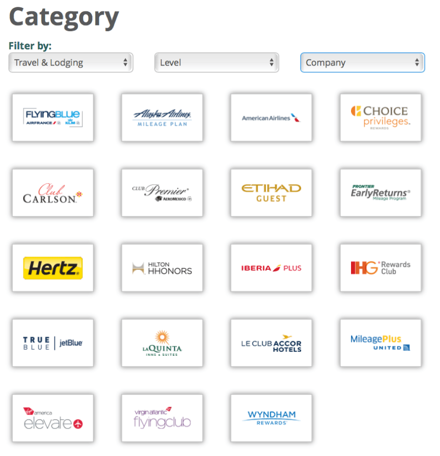 image s of companies that you can transfer e-rewards points to while traveling hacking