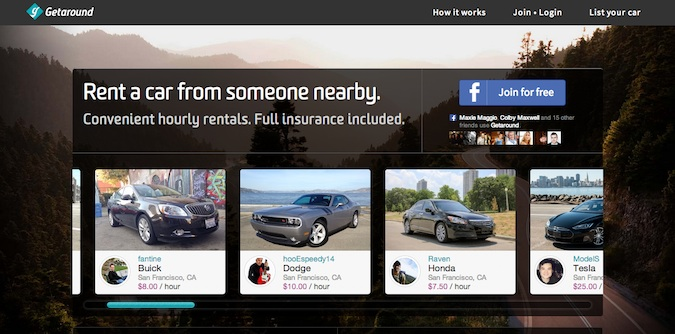 rent a car getaround website