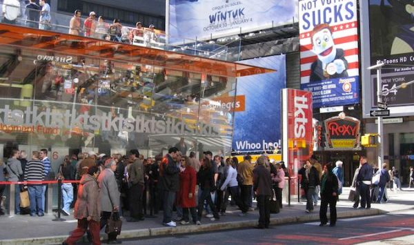 The TKTS ticket office in Times Square, NYC