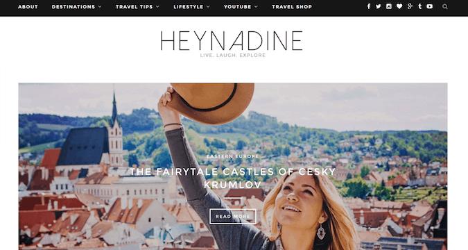 the hey nadine website screenshot