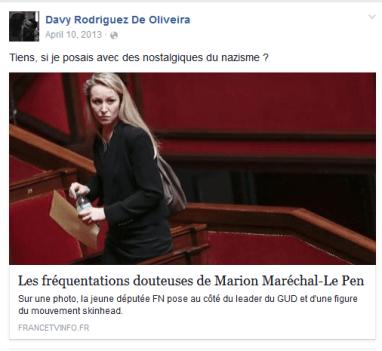 Capture d'cran du compte Facebook de Davy Rodriguez