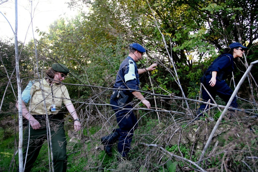 A Frontex team from the European Union patrols in Orestiada, near the Greek-Turkish borders.