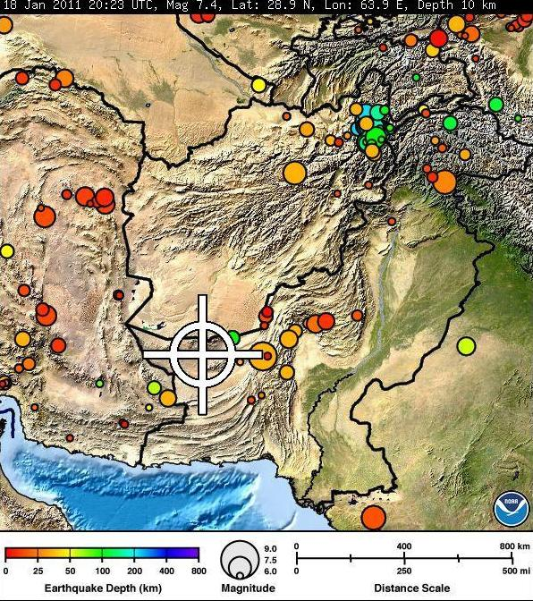 Earthquake: 18 Jan 2011, Richter 7.4, Pakistan  (attributed to USGS)