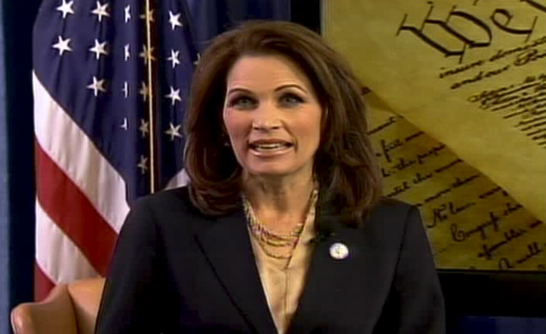 A screen grab of Rep. Michele Bachmann's response to President Barack Obama.