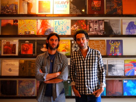 Keith Abrahamsson (left) and Andres Santo Domingo in the Mexican Summer store in Greenpoint, Brooklyn.