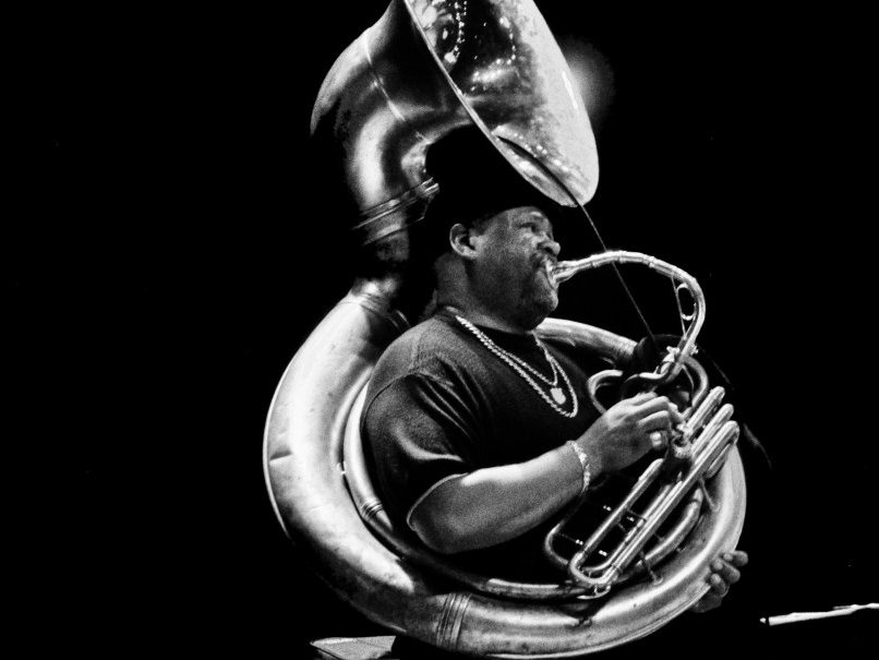 Kirk Joseph of Dirty Dozen Brass Band on sousaphone.