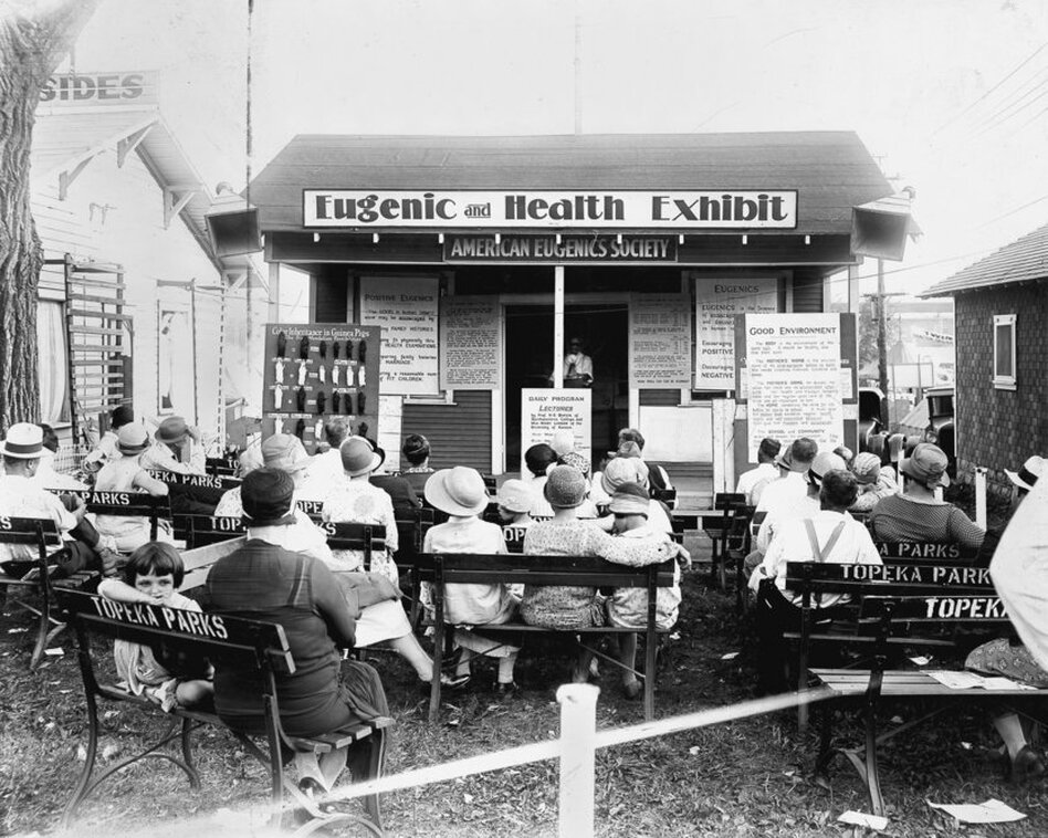 "View of a ""Eugenic and Health Exhibit"" with crowd, Kansas Free Fair, 1929. More an advocacy group than a scientific organization, the American Eugenics Society promoted general ideas to the public."