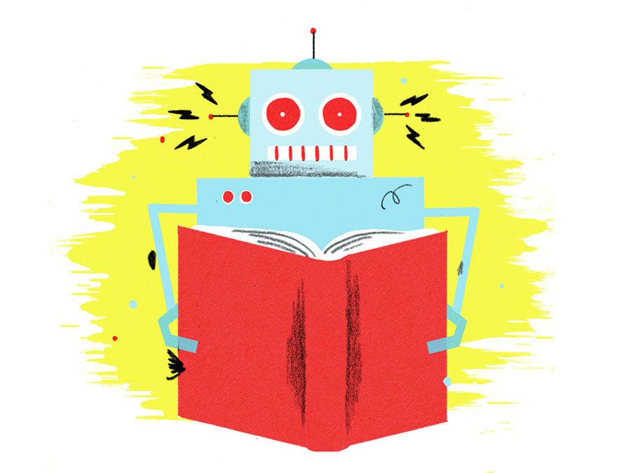 Illustration: A robot reads.