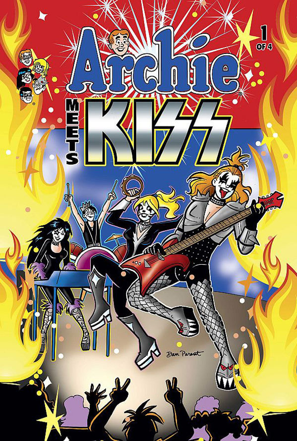 "Cover to Archie Meets Kiss #1: ""Sugar, Sugar"" has never sounded so ... theatrical."