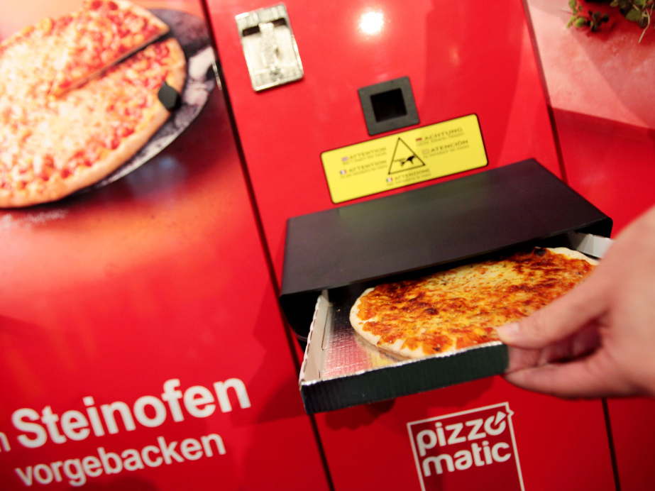 A pizza from a Pizzomatic vending machine that bakes and sells pizzas in Germany. Public health advocates say the food industry needs to make concrete commitments to making healthier products to reduce chronic disease related to diet.