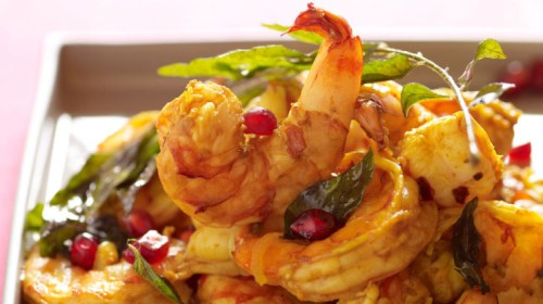 Pomegranate Shrimp With Curry Leaves