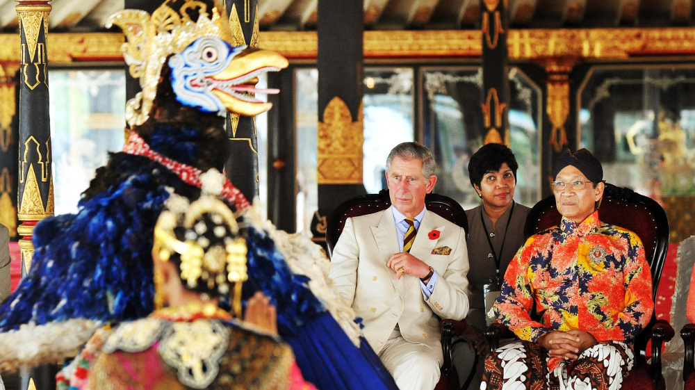 Sultan Hamengkubowono X and Prince Charles watch a traditional dance in Indonesia's former royal capital, Yogyakarta, in 2008. The sultan has also served as the unelected governor of Yogyakarta, an arrangement that is now being challenged.