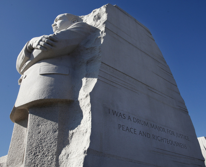 "The quote was carved into the side of the statue — ""I was a drum major for justice, peace and righteousness"" — was truncated to accommodate space limitations."