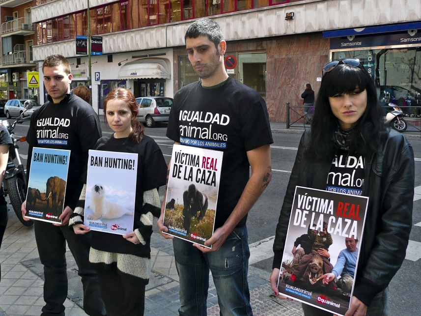 Members of the animal-rights group Igualdad Animal protest outside the Madrid hospital where Spanish King Juan Carlos was recovering after hip surgery this week. The king, who went elephant hunting in Africa, is the honorary president of the World Wildlife Fund in Spain.