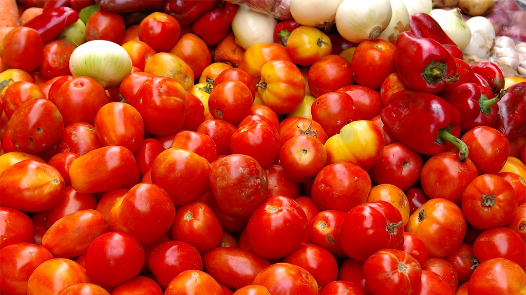 "Notice how some of these tomatoes have unripe-looking tops? Those ""green shoulders"" are actually the keys to flavor."