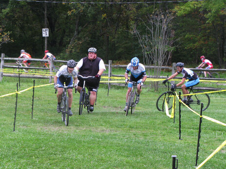 Ernest Gagnon competes in his first cyclocross race, the Midnight Ride of Cyclocross, on Sept. 26, in Lancaster, Mass.