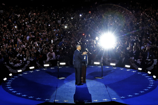 President Obama speaks at his election night party Wednesday, in Chicago after defeating Republican challenger Mitt Romney.