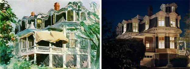 Mansard Roof, 1923, by Edward Hopper (left), which is now at the Brooklyn Museum, compared with Mansard Roof by Gail Albert Halaban (right). Though the building is the same, Halaban photographed it at night.
