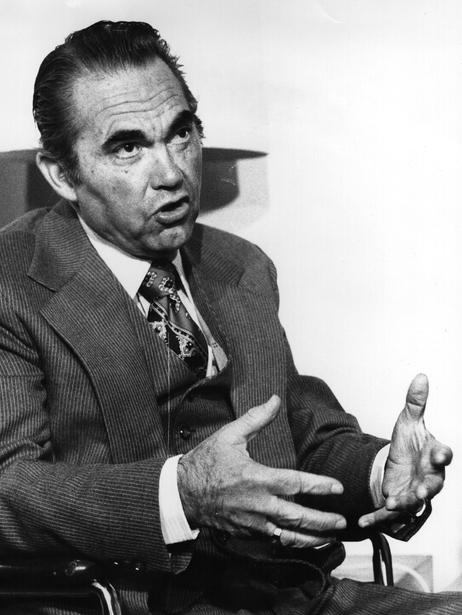 Wallace in 1975, three years after he was paralyzed in an assassination attempt. In his later years, Wallace reached out to civil rights activists and black churches to ask forgiveness.