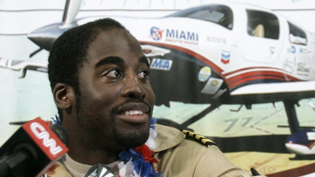Barrington Irving , a 23-year-old Jamaican-born pilot, at a news conference at Opa-locka Airport Wednesday, June 27, 2007, ending a three-month journey he said would make him the youngest person to fly around the world alone.