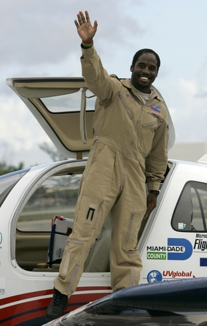 """Irving returned to the Miami-area city he left March 23, 2007 in a Columbia 400 built of donated parts. He was optimistic his 27,000-mile continent-hopping trip aboard the """"Inspiration"""" would live up to the plane's name and motivate young people _ especially minorities."""
