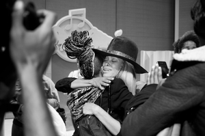 Erykah Badu greets an audience member after her talk on April 30, 2013, in New York.