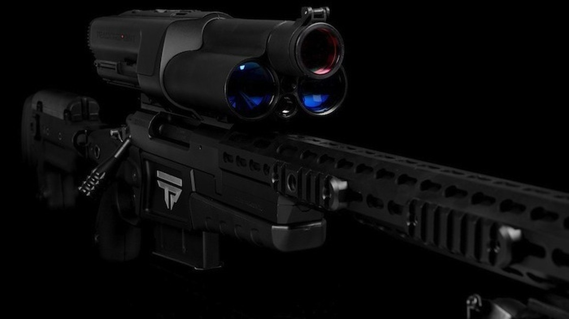 A TrackingPoint rifle features a high-tech scope that includes a laser range finder and a Wi-Fi server.