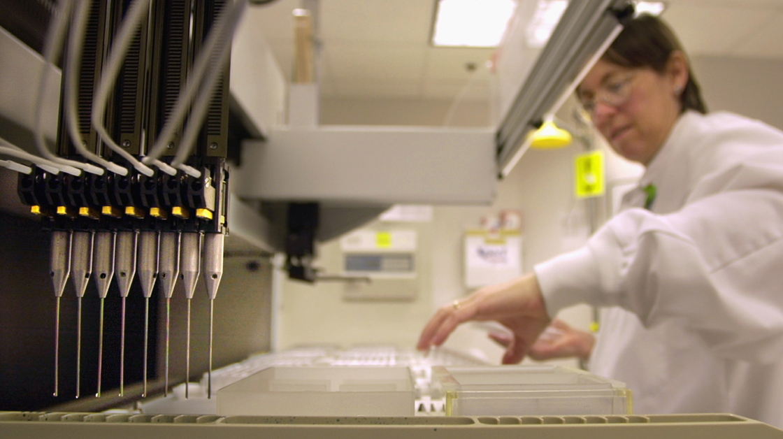 A technician loads patient samples into a machine for testing at Myriad Genetics in Salt Lake City in 2002. The Supreme Court ruled Thursday that Myriad cannot patent the BRCA genes, which are tested to check a woman's risk for breast and ovarian cancer.