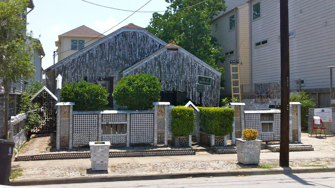 The Beer Can House in Houston in 2011. It's estimated that more than 50,000 beer cans were used to cover the entire house.