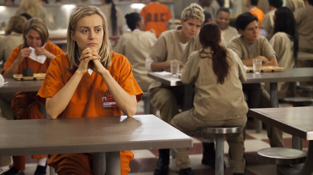 Taylor Schilling plays Piper in Netflix's Orange Is the New Black, which is based on Piper Kerman's memoir of her year in prison.