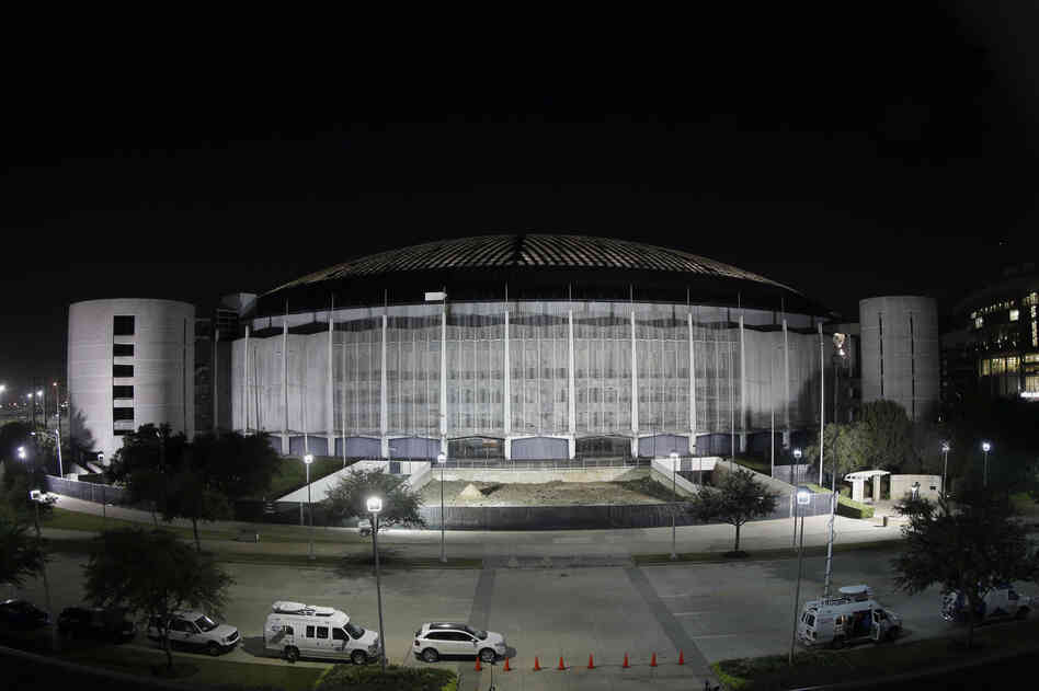 The Astrodome is illuminated on Tuesday. Voters in Houston rejected a bond referendum that would have allowed Harris County, Texas, to borrow $217 million that it could then spend to turn the stadium into one very large convention and exhibition hall. The building is likely to be razed.