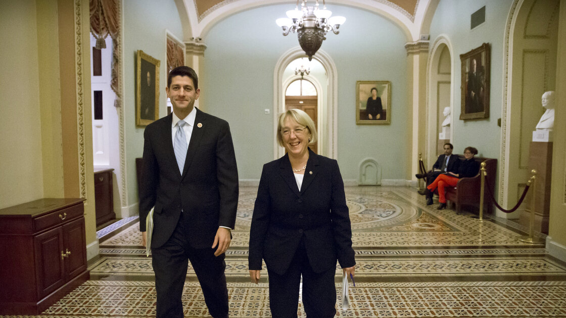 House Budget Committee Chairman Paul Ryan, R-Wis., left, and Senate Budget Committee Chairwoman Patty Murray, D-Wash., walk to announce a tentative agreement Tuesday between Republican and Democratic negotiators on a government spending plan.
