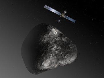 Ilustração artística do encontro da Sonda Rosetta e do módulo de aterragem Philae com o cometa 67P/Churyumov-Gerasimenko. (Crédito: ESA)