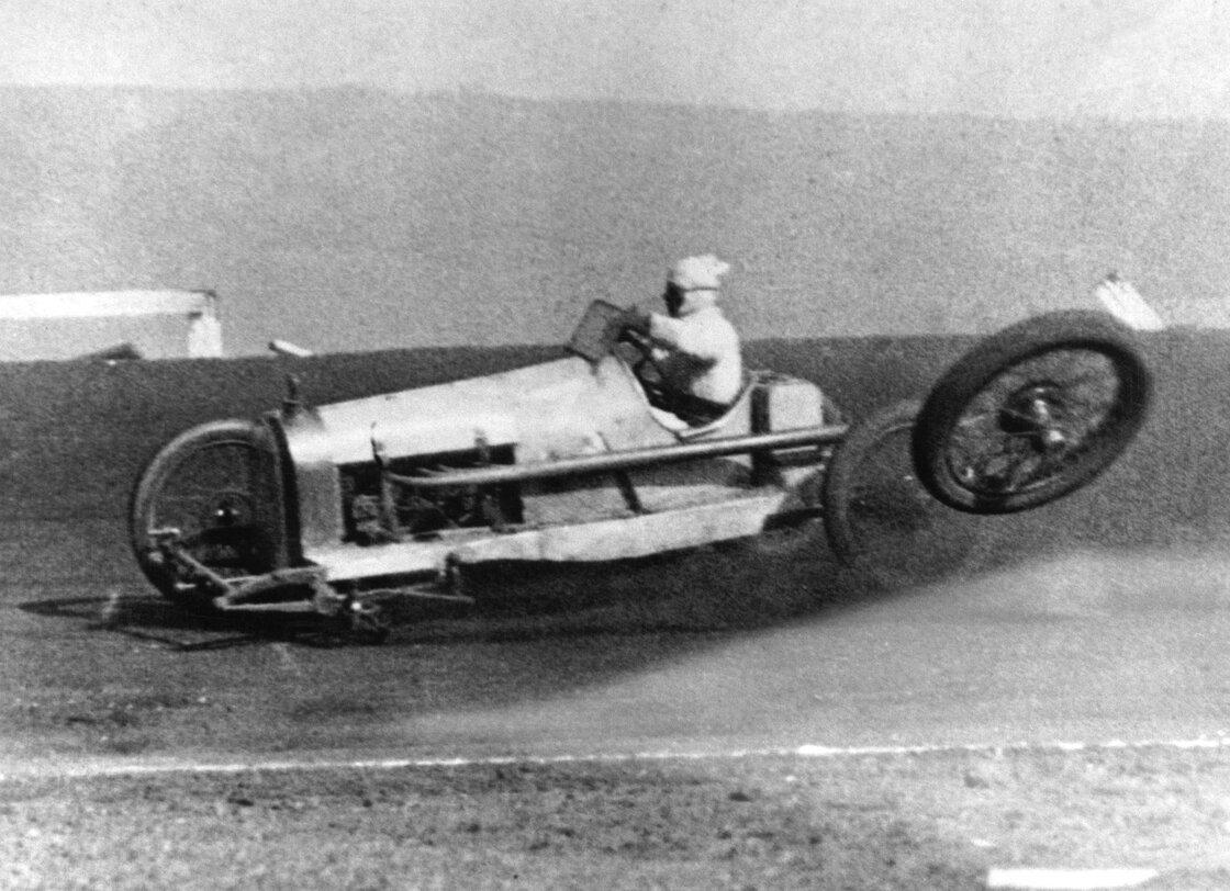 November 1924: A car loses a wheel at high speed on the Culver City Speedway, Los Angeles, California.