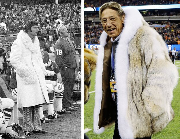 Former New York Jets quarterback Joe Namath in 1971, left, and at Sunday's Super Bowl in New Jersey.