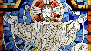 Stained glass artwork of Jesus.