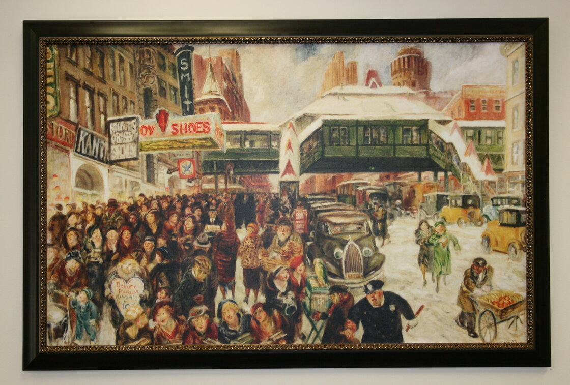 John Sloan's Fourteenth Street at Sixth Avenue hung in the office of Sen. Royal Copeland until his death in 1938. After that, the painting was lost until 2003.