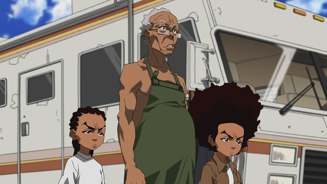 """Riley, Granddad and Huey in a scene from the """"Breaking Granddad"""" episode of the animated series The Boondocks."""