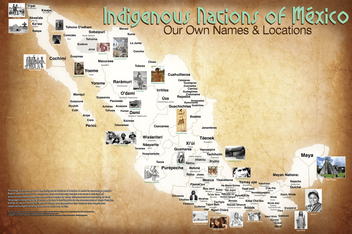 This map of Mexico features both the original and commonly known names of some indigenous nations. View the full map (PDF).