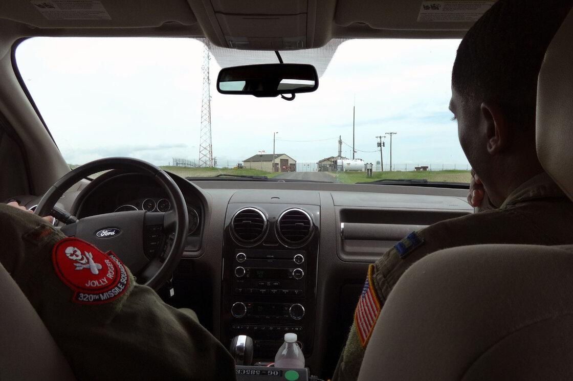 Lt. Raj Bansal and Capt. Joseph Shannon (right) approach Foxtrot-01, a remote nuclear missile base in Nebraska.