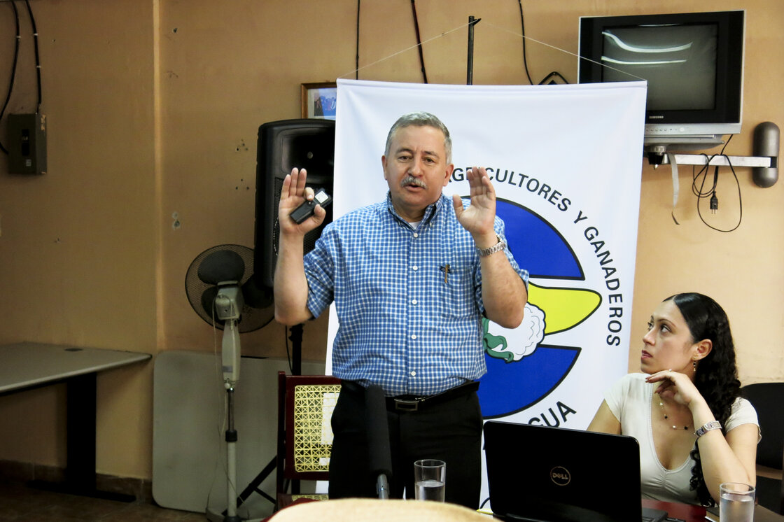 Francisco Telemaco Talavera gives a two-hour presentation to Nicaraguan farmers on the benefits of the canal. Telemaco is the rector of a major Nicaraguan University and head of the Gran Canal Commission. He says the canal will create up to 200,000 jobs and lift the country, the second poorest in the hemisphere, out of poverty.