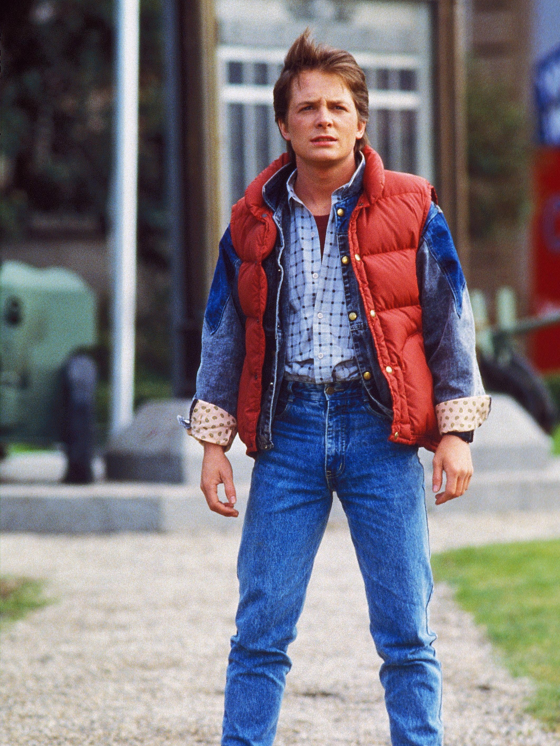 michael j fox and his vest in the 1985 movie back to future