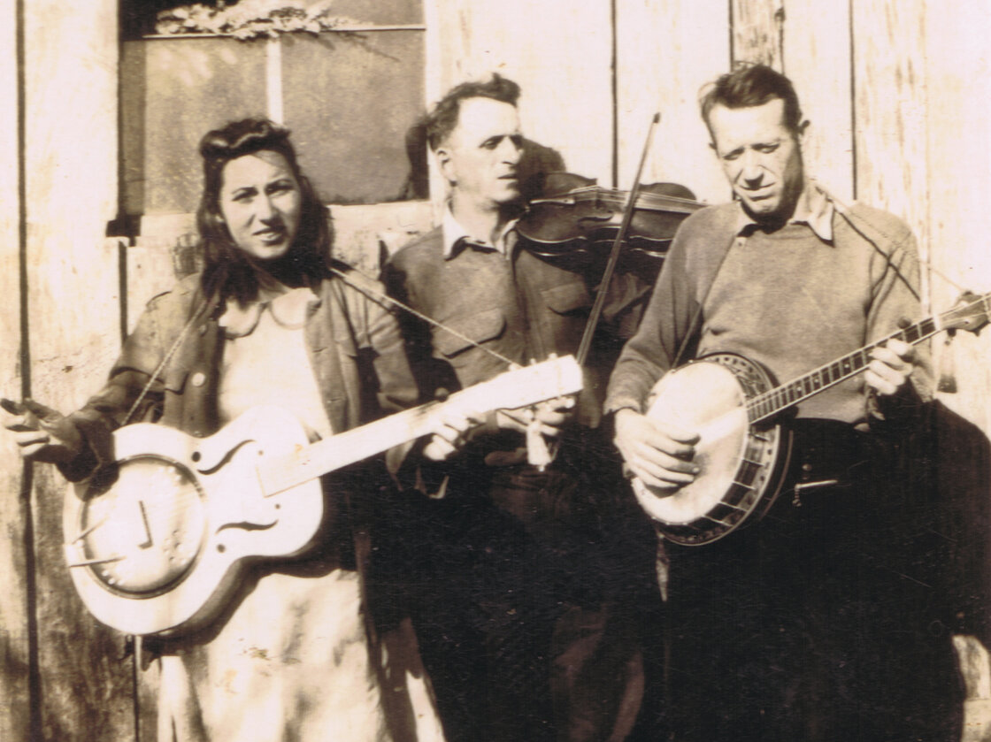 """Fiddlin' John"" Sharp (center), seen here with daughter Evelyn and banjo player Red Morris, is among the many musicians whose stories and songs are documented in Bobby Fulcher's archive."