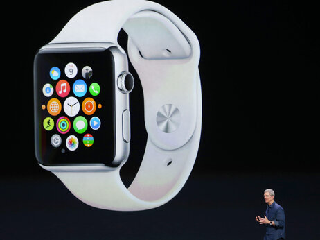 Apple CEO Tim Cook announces the Apple Watch on Tuesday in Cupertino, Calif. The long-awaited smart watch comes in two sizes and requires an iPhone.