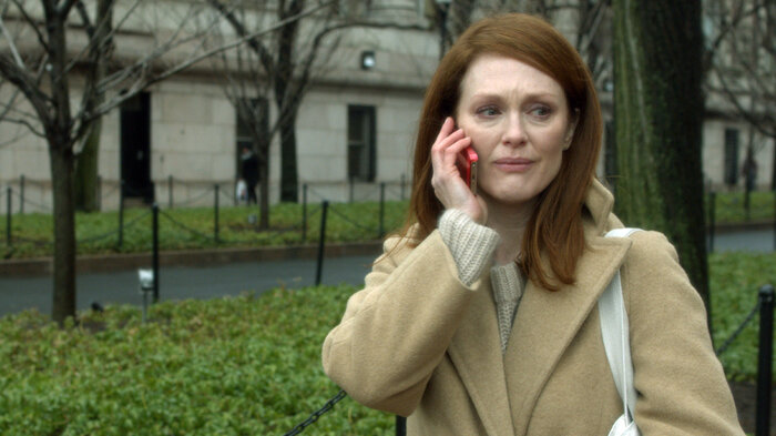 """Moore recently won a Golden Globe award for her performance in the film. """"It's a progressive disease,"""" Moore says. """"So it's about how do you stay present? How do you stay with the people that you love?"""""""