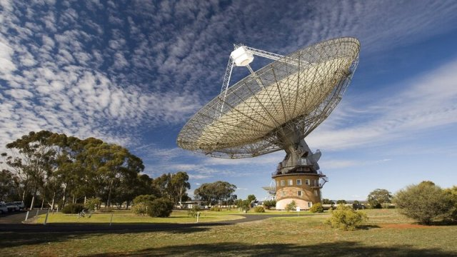 """Australia's giant Parkes radio telescope detected a """"fast radio burst,"""" or FRB, last May. Researchers call FRBs, whose origins haven't been explained, """"tantalizing mysteries of the radio sky."""""""